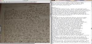 My facsimile and transcription workspace