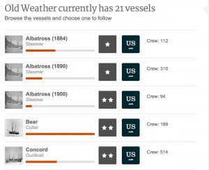 Oldweather.org allows users to pick vessels to transcribe  logs.
