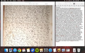 A capture of my screen during the transcription process.