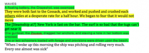 An example of non-linear information that helps my story when clumped together